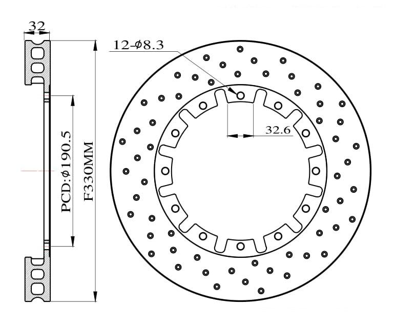 Tarcze hamulcowe nawiercane do zestawu Big Brake 330mm 2015+ - GRUBYGARAGE - Sklep Tuningowy